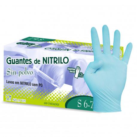 GUANTES NITRILO REFORZ.AZUL DESECHA. T-P 100 U.