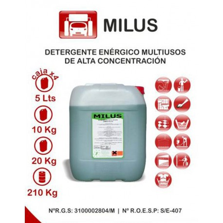 MILUS 10K. DETERGENTE ALCALINO ENERGICO MULTIUSO