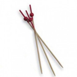 PICKS BOLA ROJA 12 CM NATURAL BAMBU 100 UN.