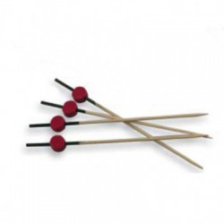 PICKS ROJO/NEGRO 12 CM NATURAL BAMBU 100 UN.